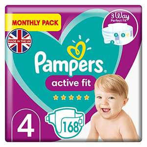 Pampers Size 4 Active Fit Baby Nappies 168 Count (9-15 kg / 20-33 lbs) 12p per nappy £20.43 (£19.41 on S&S) Sold & Dispatched by Amazon