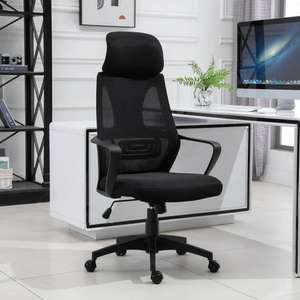 Vinsetto Mesh Ergonomic Home Office Chair w/ Headrest Black £55.24 Delivered with code @ 2011homcom eBay