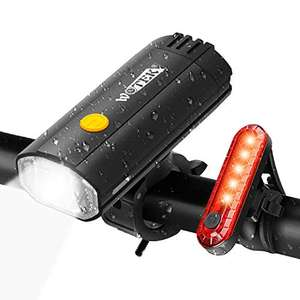 WOTEK Bike Lights Set USB Rechargeable - Waterproof Cycle Lights £9.59 Prime (+£4.49 NP) Sold by WOLFSEASON store and Fulfilled by Amazon
