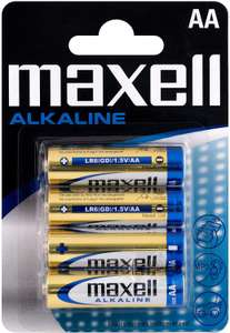 Maxell AA Alkaline Battery (Pack of 4) 99p (£4.49 p&p non prime) @ Amazon