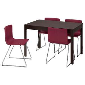 EKEDALEN / BERNHARD: Extendable Table and 4 chairs, dark brown/Mjuk dark red120/180 cm - £375 + £40 Delivery @ IKEA