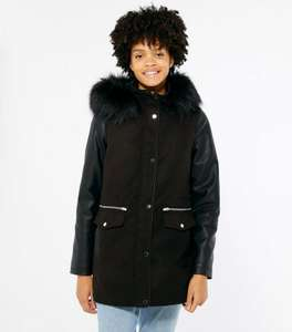Black Leather-Look Sleeve Faux Fur Hood Parka Coat Now £15 + £2.99 del (99p del on some accounts) @ New Look