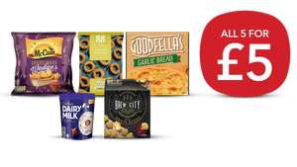Freezer Fillers (Cheesy Brew Bites/ Potato Wedges/ Battered Onion Rings/ Goodfella's Garlic Bread/ Dairy Milk Tub) £5 or £4.50 NUS @ Co-op