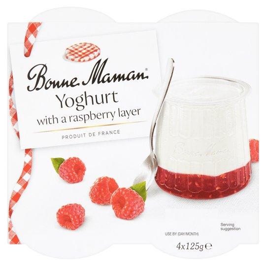 Bonne Maman Yogurt With Rhubarb/Raspberry Layer 4 X 125G £1.00 clubcard price (+ Delivery Charge / Minimum Spend Applies) @ Tesco