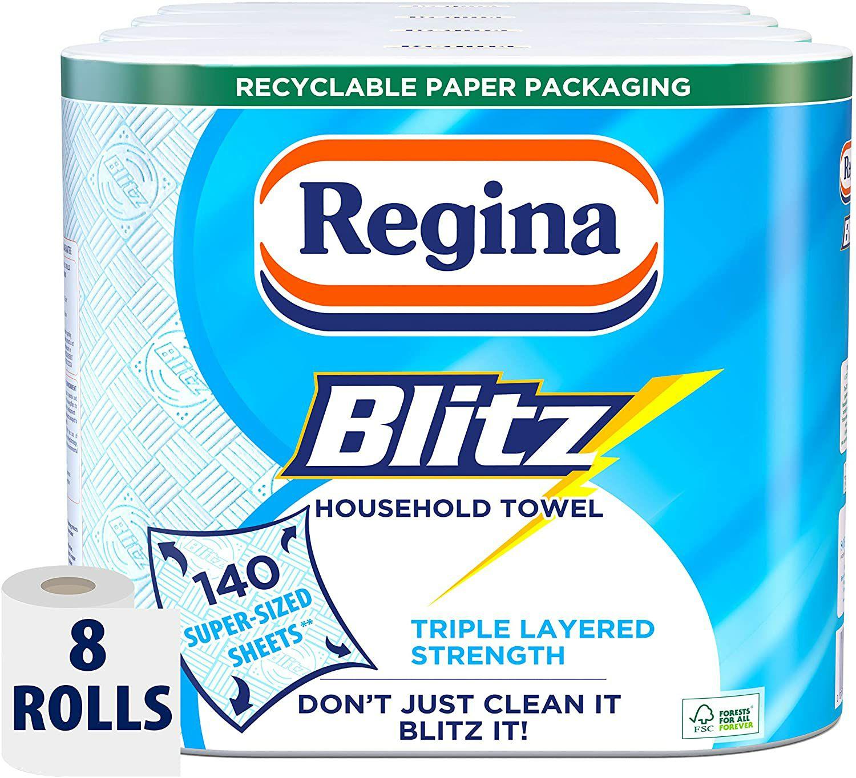Regina Blitz Household Kitchen Towel, 8 Rolls, 560 Super-Sized Sheets £10 (£4.49 p&p np) 20% voucher & 10% s&s £7 @ Amazon