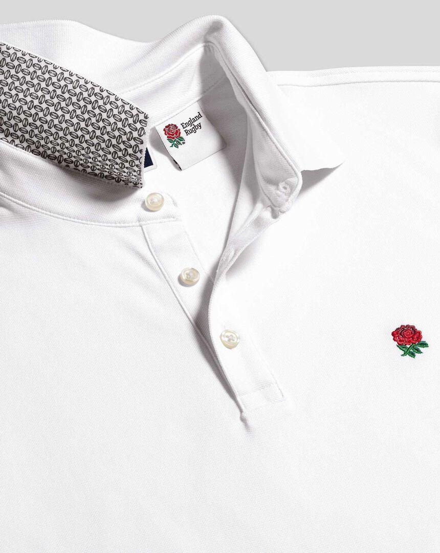 England Rugby Pique Polo - White - 1 Shirt £69.95, 3 Shirts £70 at Charles Tyrwhitt