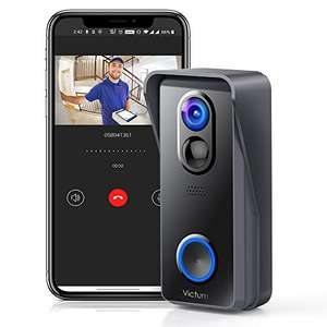 Victure Video Doorbell Camera, Wireless Smart Doorbell Camera with 1080 HD £39 at Sold by Cinic and Fulfilled by Amazon