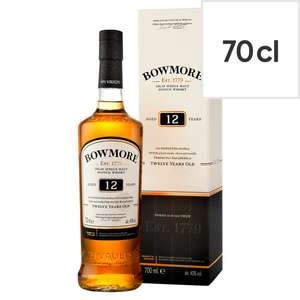 Bowmore 12 Year Old Islay Single Malt Scotch Whisky 70Cl - Smoky £25 Clubcard (+ Delivery Charges / Minimum Spend Applies) @ Tesco