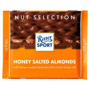 Ritter Sport Honey Salted Almonds/whole hazelnut 100g £1 (+ Delivery Charge / Minimum Spend Applies) @ Morrisons