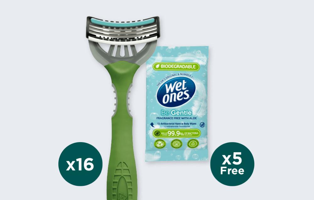 Wilkinson Sword 16 Xtreme 3 Eco Disposable Razors & 5 Wet Ones Be Gentle Biodegradable 12 packs £15 @ Wilkinson Sword