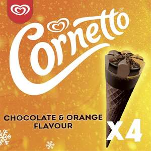 Cornetto Chocolate & Orange Flavour Ice Cream 4 X 90Ml - £1.50 (Min Spend & Delivery Fee Applies / Clubcard Price) @ Tesco