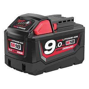 Milwaukee M18B9 M18 9.0Ah Red Lithium-Ion Battery £46.99 Usually dispatched within 5 to 7 days. @ Amazon