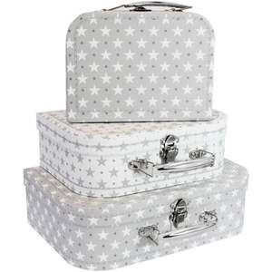 Grey Stars Storage Suitcases - Set Of 3 £9.99 delivered @ The Works - 2 for £10