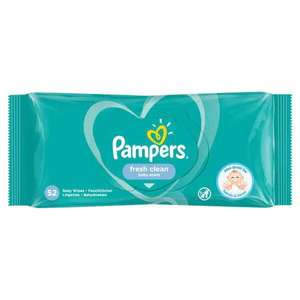 Pampers Fresh Clean Baby Wipes 52 Pack / Pampers Sensitive Baby Wipes 52 Pack 63p + £1.50 del @ Superdrug