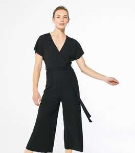 Black Ribbed Belted Wrap Jumpsuit £6 + 99p delivery at New Look