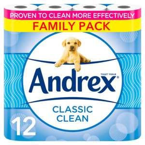 Andrex classic clean 12 rolls toilet tissue £4.50 (+ Delivery Charge / Minimum Spend Applies) @ Asda