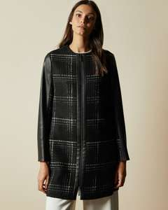 SHELLIE Faux leather sleeve checked coat £72 and free delivery using codes at Ted Baker
