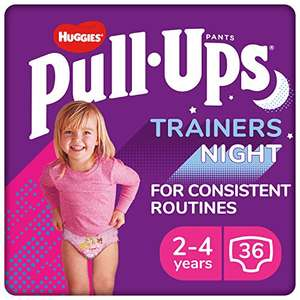 Huggies Pull-Ups Trainers Night, Girl, Size 2-4 Years, Nappy Size 5-6+ 36 BIG KID Training Pants £7.96 (+£4.49 non Prime) at Amazon