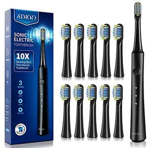 ATMOKO 3 Sonic Rechargeable Electric Toothbrush, 3 Modes, 10 Brush Heads £13.71 delivered @ MLBecommerce and FBA