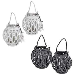 Set of 2 Willow Wicker Lanterns With Glass Jar Inserts - £8.95 Delivered @ only5pounds (Candles Not Included)