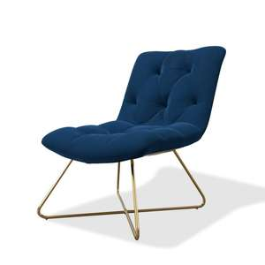 Navy Blue Velvet Accent Chair - Allie £84.96 delivered at Furniture123