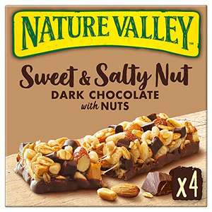 Nature Valley Sweet & Salty Nut Dark Chocolate With Nuts, 4 x 30g - 98p Prime (+£4.49 Non Prime) @ Amazon