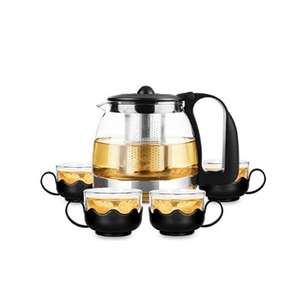 700ml Glass Filter Teapot With 4x 150ml Glass Teacups - £8.95 Delivered @ only5pounds