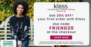 Klass 20% off - Free delivery with £20 spend