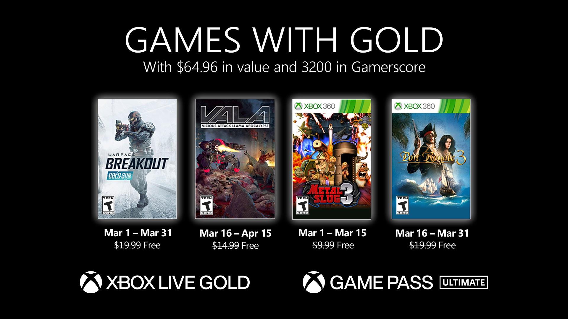 Xbox Games with Gold (March 2021) - Warface: Breakout, Metal Slug 3, Port Royale 3, Vicious Attack Llama Apocalypse