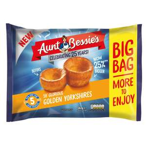 Aunt Bessie's Yorkshire Puddings (18 pack) - £1.50 Clubcard Price (Minimum Basket / Delivery Fees Apply) @ Tesco