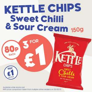 3 x bags of Kettle crisps £1 - 150g bags @ The Company Shop
