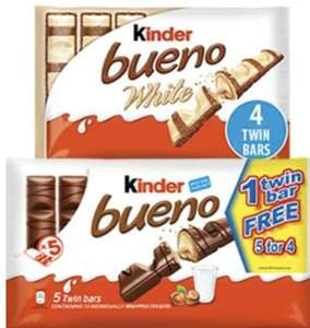Kinder Bueno Milk Chocolate 5 Twin Bar Multipacks are 3 for £5 @ Farmfoods