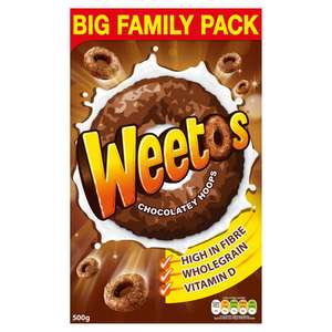 Weetos Chocolate Hoops Cereal 500g £3 (Minimum Basket / Delivery Fees Apply) @ Iceland