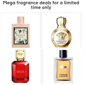 Gucci Bloom Aqua Fiori 100ml £50, Versace Eros Femme 50ml £40, Michael Kors Sexy Ruby 50ml £35, Lacoste L'Homme 100ml £25 etc+ £3.50 @ Boots