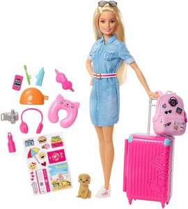 Barbie FWV25 Doll and Travel Set with Puppy, Luggage £17.50 delivered @ Jac in a box