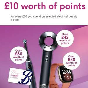 £10 worth of points for every £60 you spend on Electrical Beauty & Fitbit - stacks with onsite offers (electrical beauty) online @ Boots