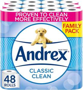 Andrex Classic Clean Toilet Tissue (New and improved), 48 Toilet Rolls - £18.67 prime / £23.16 NP / £16.80 S&S @ Amazon
