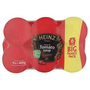 6 pack of Heinz tomato soup 400g cans £2.50 prime / £6.99 non prime @ Amazon