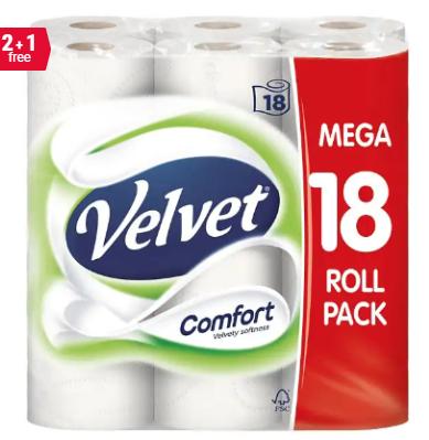 Velvet Toilet Rolls 18 rolls for £13.19 + £2.90 delivery buy 2 packs get one free @ Viking