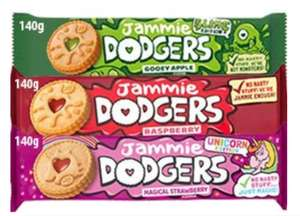 Jammie Dodgers 140g Packs Raspberry/Apple/Strawberry Flavours are 3 for £1 @ Farmfoods