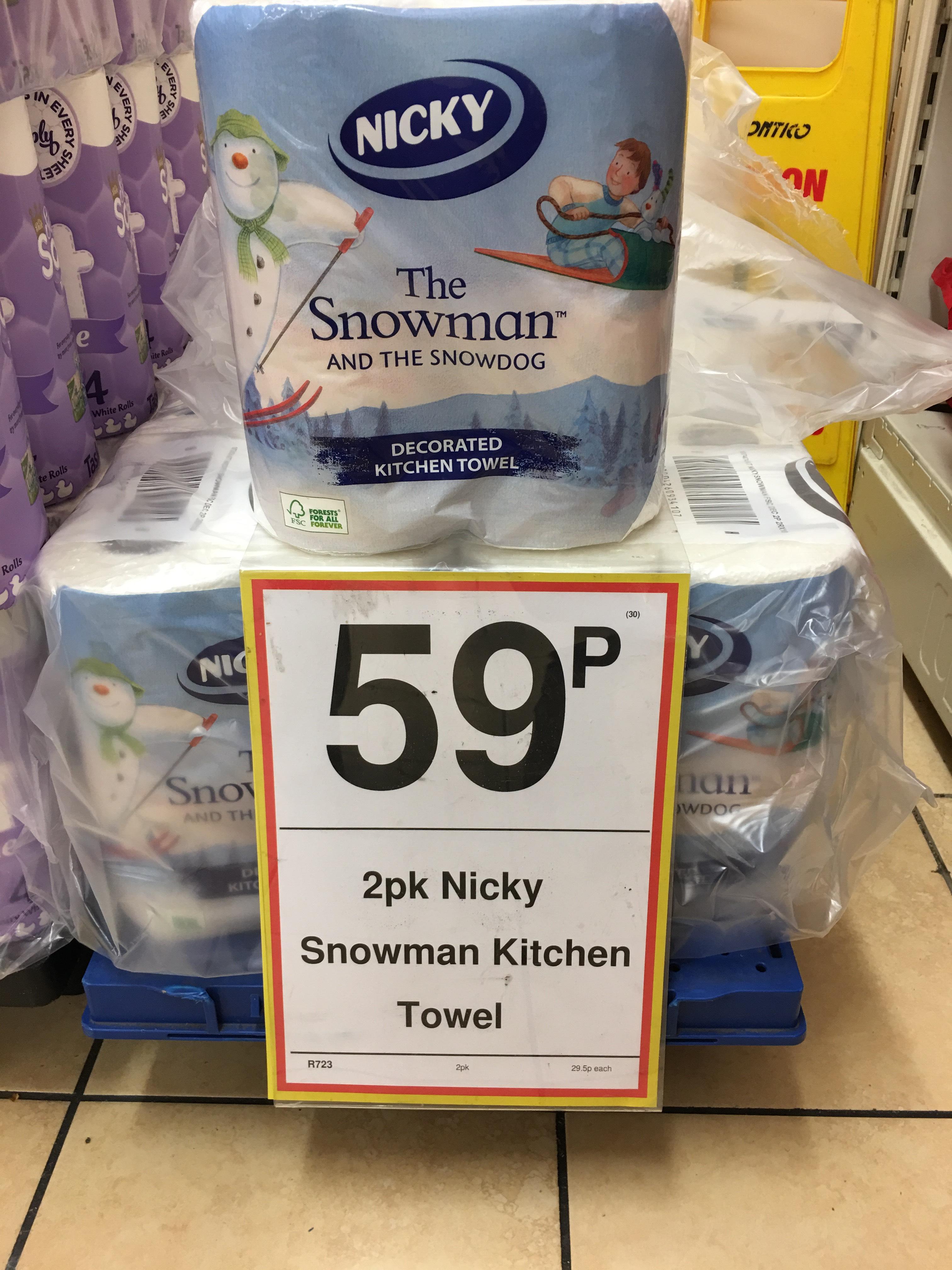 2pk Nicky snowman kitchen towel 59p Farmfoods Sutton