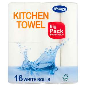 Breeze Kitchen Towel 16 White Rolls - £4.50 (+ Delivery Charge / Minimum Spend Applies) @ Iceland