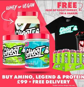 ghost protein 924g, ghost pre workout 345g, ghost amino 404g, ghost energy drink x 12 , t shirt, shaker combo deal £99 @ T-nutrition