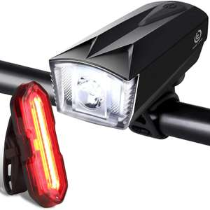 Techole rechargable Bike light set, 300lm waterproof headlight & 100lm rear light £12.27 Prime (+£4.49 NP) Sold by AmSin and FBA