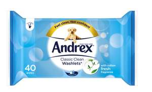 Andrex Classic Clean Washlets - 40 Flushable Wipes £1 @ Boots Online & Instore