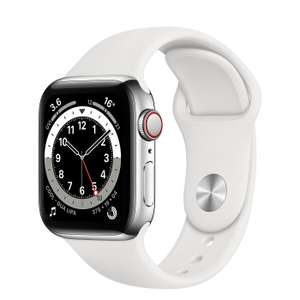 Apple Watch Series 5 (GPS + Cellular, 44mm) - Stainless Steel Case with White Sport Band £427.97 or Milanese Loop £466.49 at Amazon