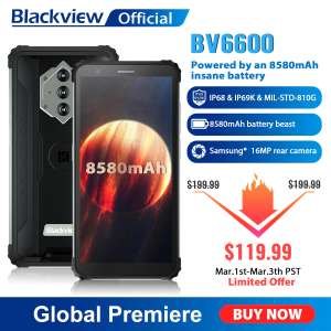 "Blackview BV6600 IP68 Waterproof 8580mAh Rugged Smartphone Octa Core 4GB+64GB 5.7"" Mobile Phone £88.36 @ AliExpress BLACKVIEW Official Store"