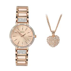 Seksy Ladies' 2 Piece Swarovski Crystal Rose Gold Plated Watch & Pendant Set Now £44.79 Free delivery @ H Samuel