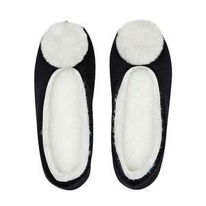 Black Faux Fur Pom Pom Slippers S/M, M/L Now £2.50 + £3.95 Delivery From Dunelm
