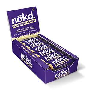 Nakd Blueberry Muffin Natural Fruit & Nut Bars - Vegan - Gluten Free - Healthy Snack, 35 g (Pack of 18) £9 + £4.49 NP @ Amazon